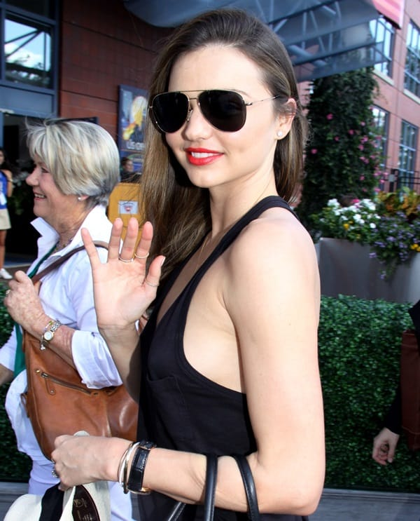 Miranda Kerr spotted at the US Open Tennis women's singles final between Serena Williams and Victoria Azarenka in New York City on September 8, 2013