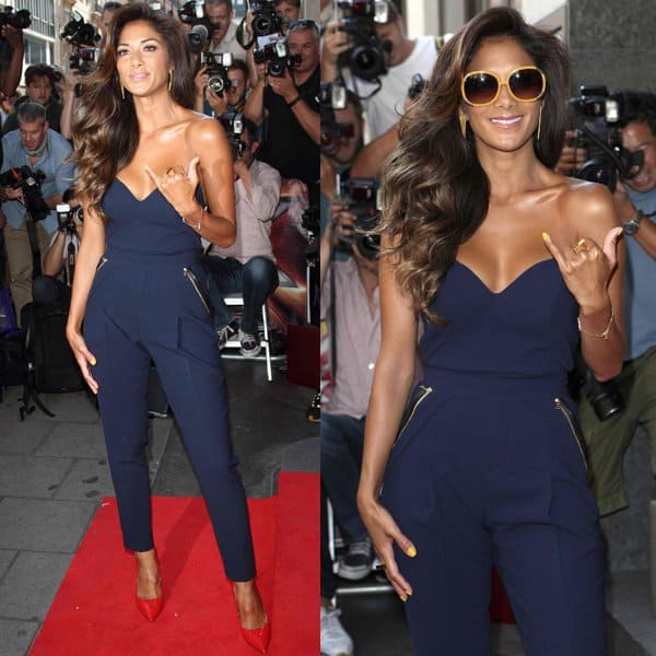 Nicole Scherzinger's contemporary Three Floor jumpsuit is styled with bold pleating and a strapless bodice