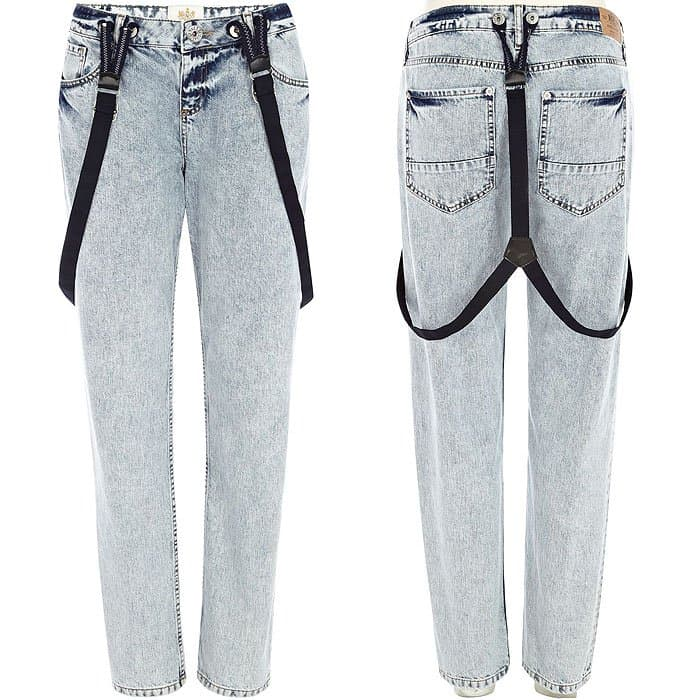 River Island Light Wash Brace Cassie Boyfriend Jeans