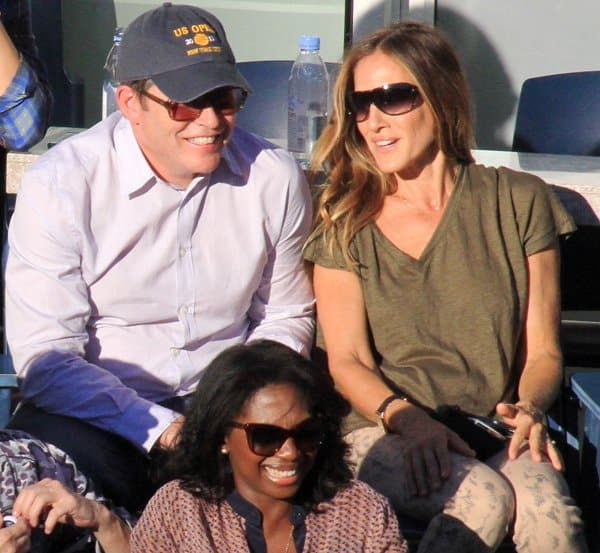 Sarah Jessica Parker at the Women's Final at the 2013 Tennis US Open with husband Matthew Broderick in New York on September 8, 2013