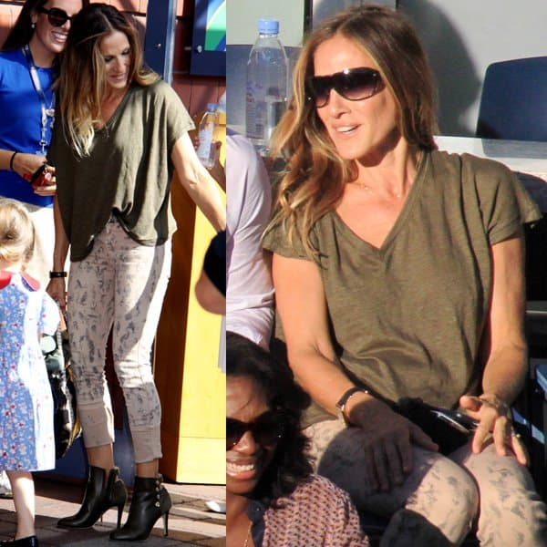 Sarah Jessica Parker star was all-smiles as she watched the match while basking in the warm sunshine, looking casual in a loose-shirt-and-jeans ensemble