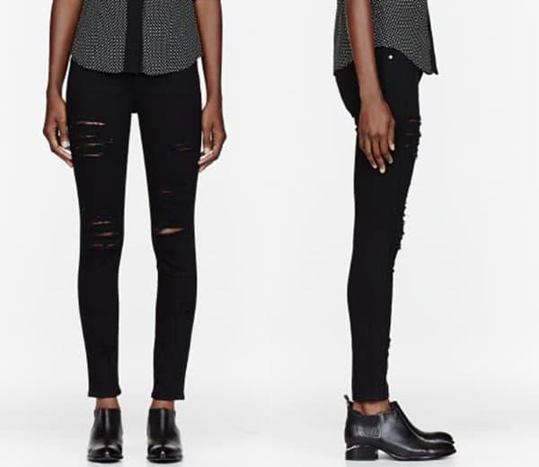Frame Denim Black Ripped Le Color Skinny De Jeanna Jeans