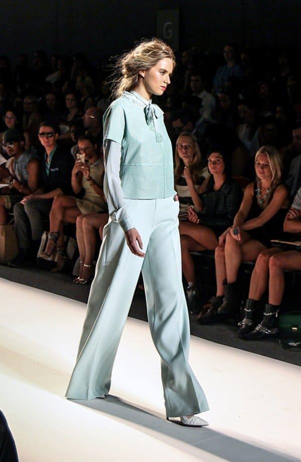 Model wearing Rachel Zoe's mint-colored pants