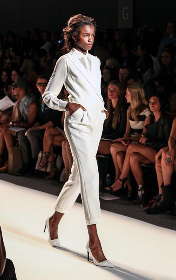 Model wearing classy pants from Rachel Zoe