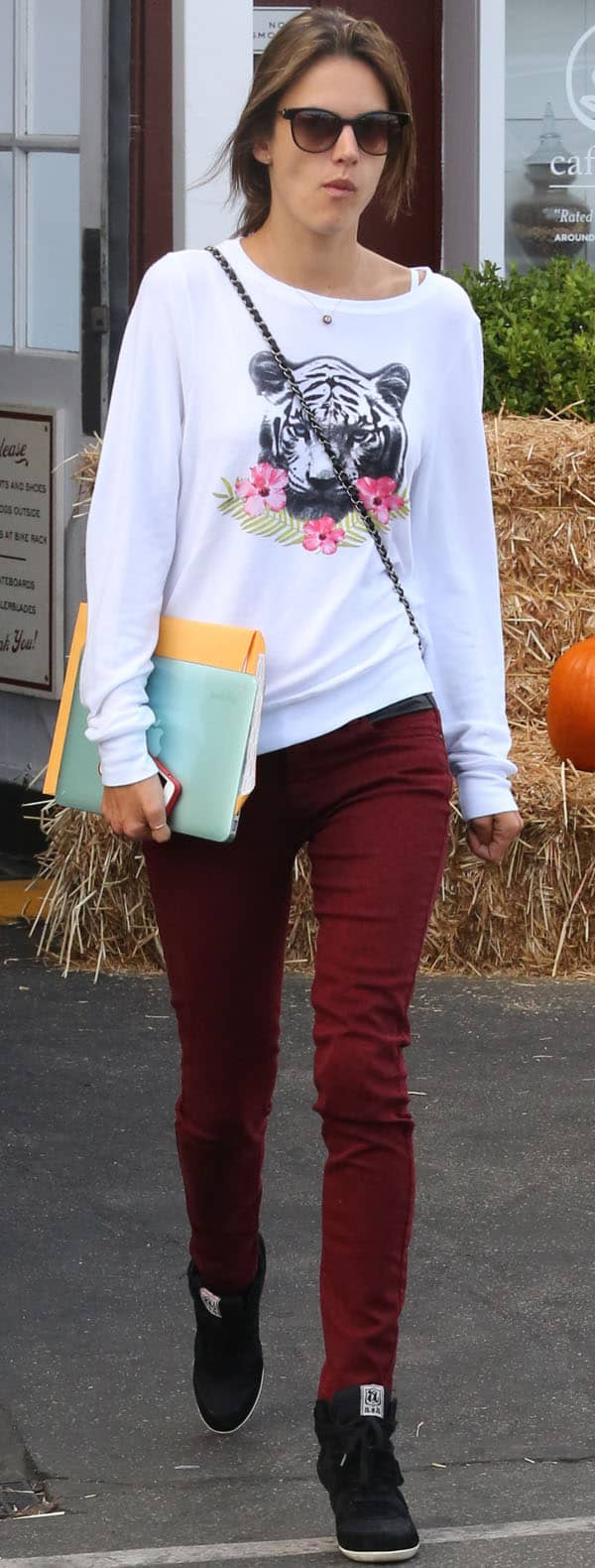 Alessandra Ambrosio wore a pair of red leopard-print jeans by BlankNYC, which she teamed up with a tiger-print graphic shirt