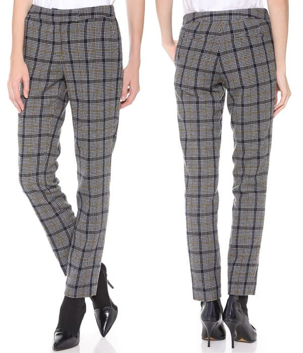 These slim, straight-leg Creatures of the Wind trousers have sophisticated, vintage appeal in wool houndstooth tweed