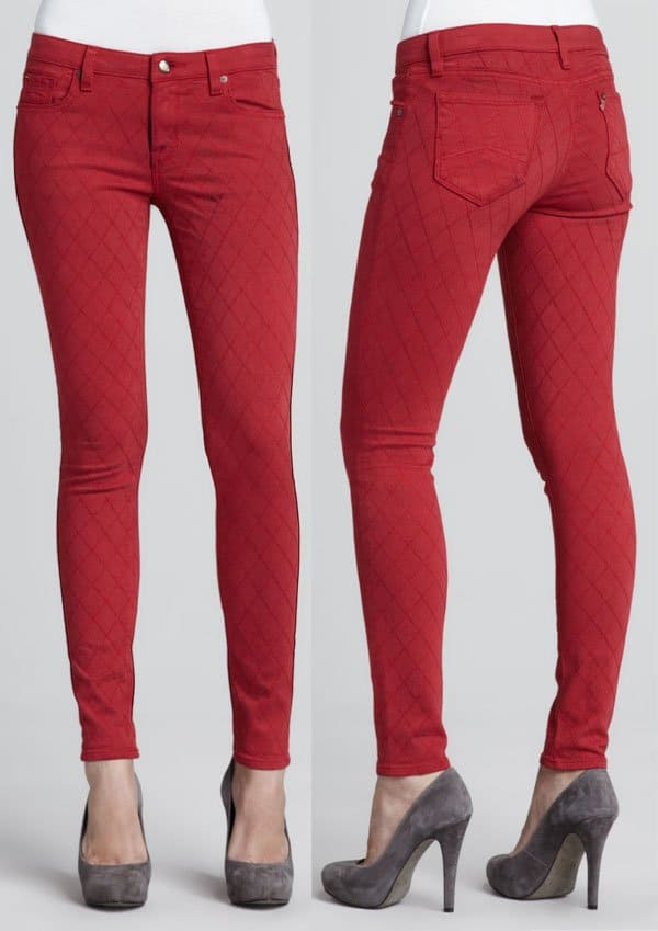 D-ID Denim Quilted-Stitching Skinny Jeans in Red