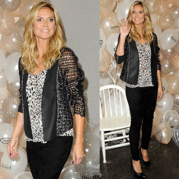 Heidi Klum wore a black-and-white ensemble