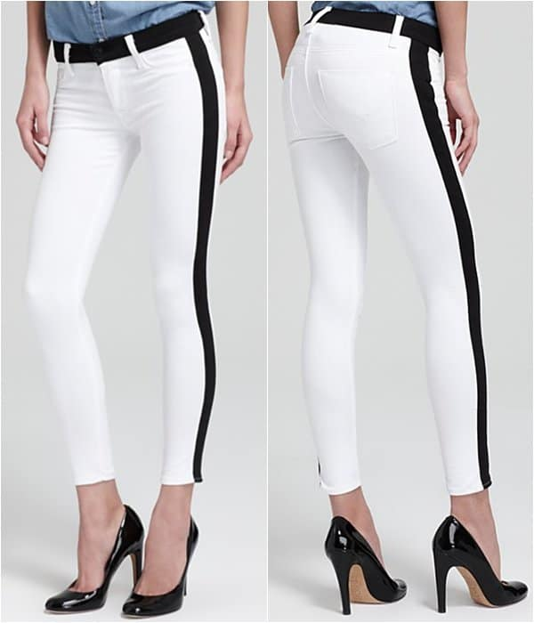 Hudson Jeans Leeloo Color Block Super Skinny Crop in White
