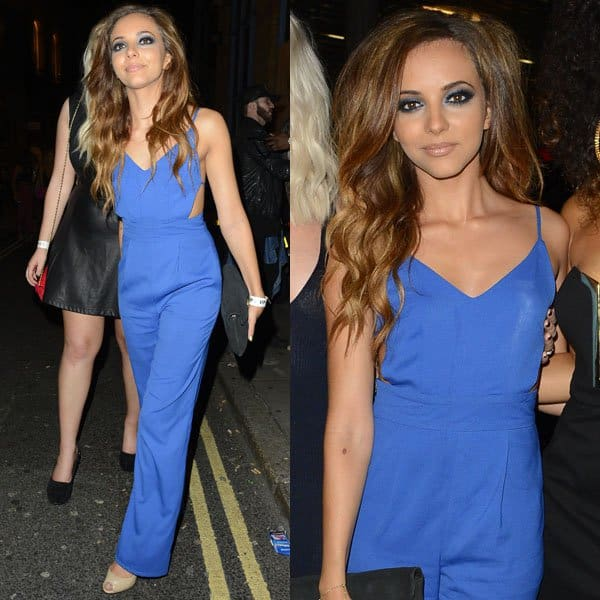 Jade Thirlwall chose a high-waisted cutout jumpsuit by Jovonna London in a bright blue tone, which she wore with a pair of nude patent peep-toe pumps from Carvela Kurt Geiger and a black suede clutch from River Island