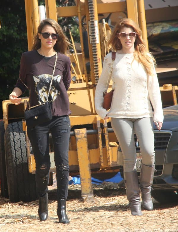 Jessica Alba spending time at Mr. Bones Pumpkin Patch with friend and makeup artist Lauren Andersen before shopping for groceries at Whole Foods in Los Angeles, California, on October 13, 2013