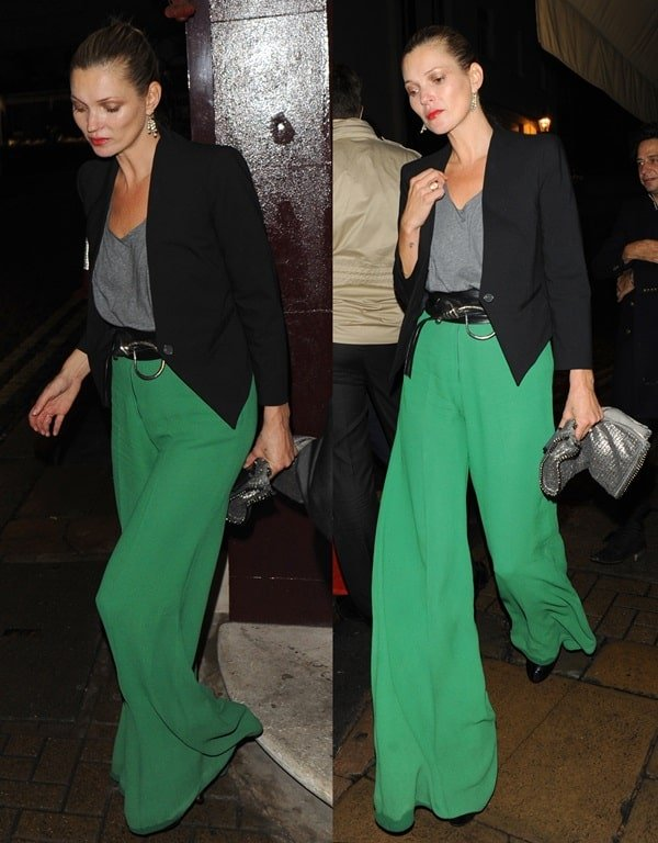 Kate Moss made heads turn when she stepped out for a night out in London wearing a pair of bright green palazzo pants