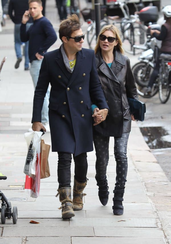Kate Moss and her husband, Jamie Hince, spending the afternoon shopping in Hampstead, London, United Kingdom, on October 12, 2013
