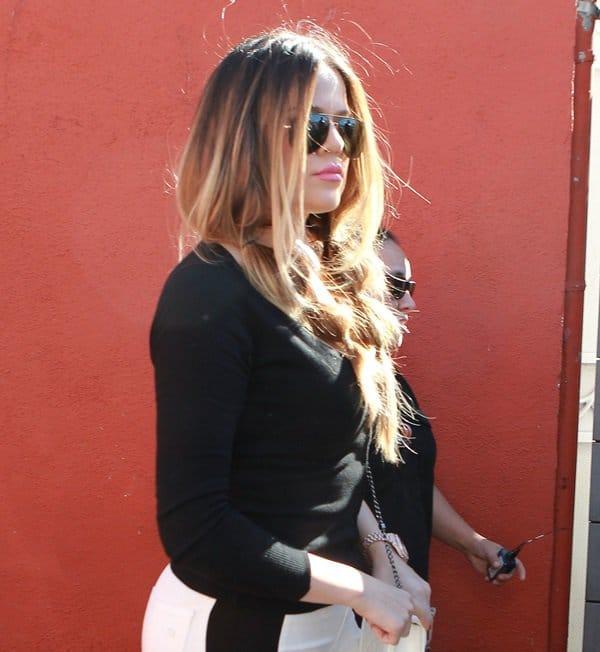 Khloe Kardashian spotted leaving Sherman Oaks in Los Angeles on September 30, 2013