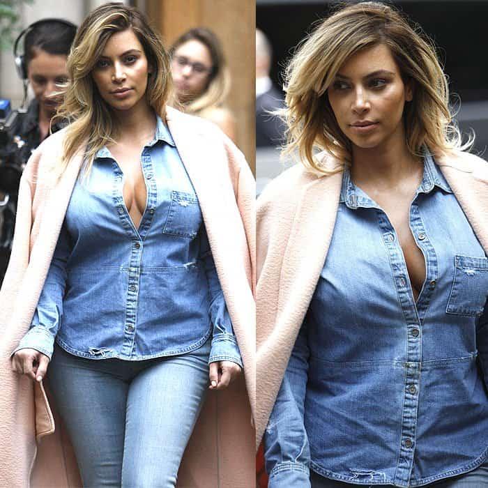 Details of Kim Kardashian's double-denim outfit