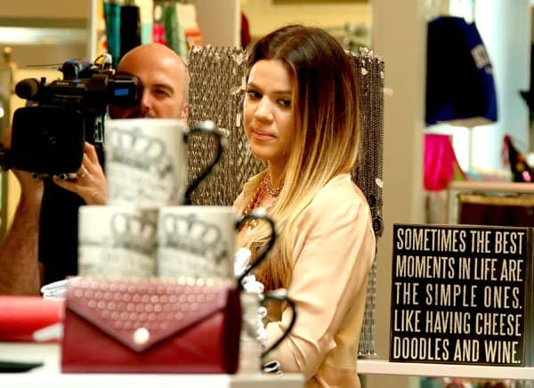 Khloé Kardashian filming for her show while shopping at Kitson on Robertson Avenue Clothing Store in Los Angeles on October 2, 2013