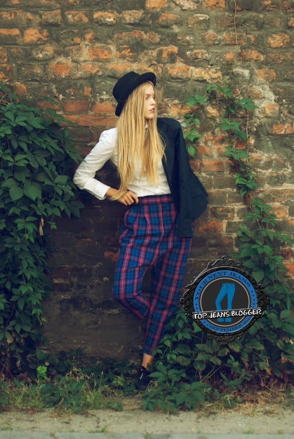 Marta's menswear-inspired outfit with tartan pants