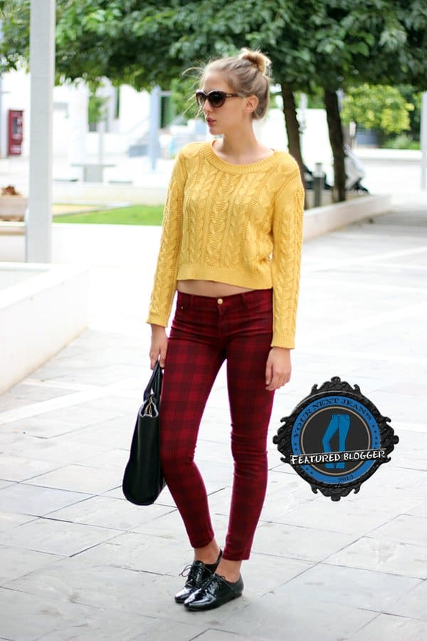 Marta shows how tartan pants can be effortlessly teamed up with a knitted sweater and oxfords