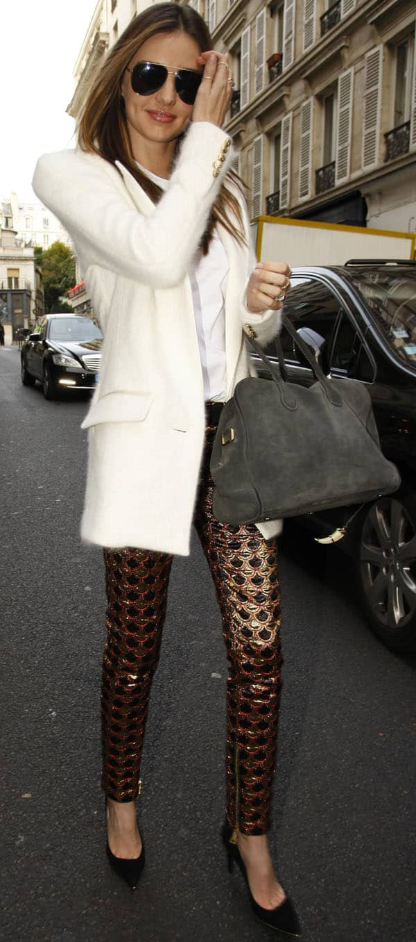 Miranda Kerr stopping by Balmain in Paris, France, on October 3, 2013