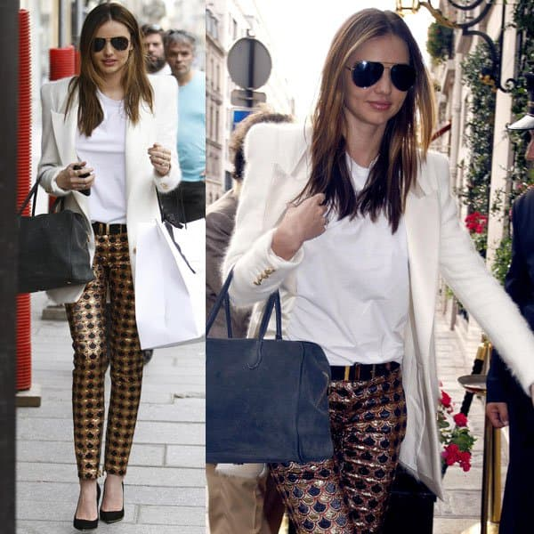Miranda Kerr slipped into a pair of Balmain printed pants