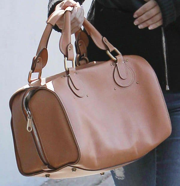 Rachel Bilson toting a brown structured bag from Chloé