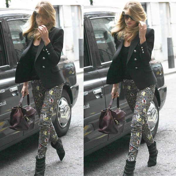 Rosie Huntington-Whiteley spotted at the Soho Hotel in London, United Kingdom, on October 1, 2013