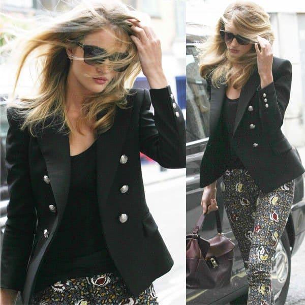 Rosie Huntington Whiteley walked around in Balenciaga paisley-pattern skinny jeans