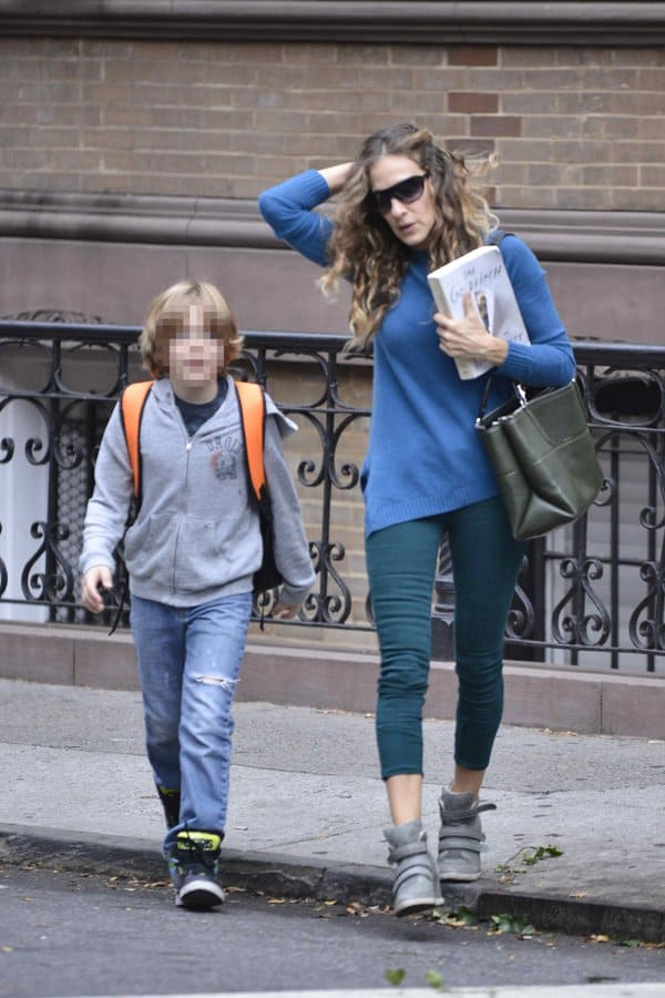 Sarah Jessica Parker walking her children to school in Manhattan, New York, on October 7, 2013
