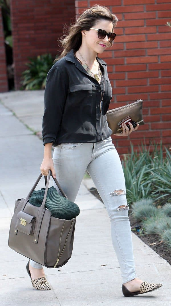 Sophia Bush was spotted wearing what seems to be her favorite pair of Current/Elliot ripped jeans