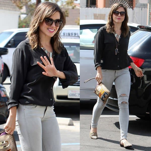 Sophia Bush paired her denims with a casual black button-down shirt and some pretty silver accessories around her neck