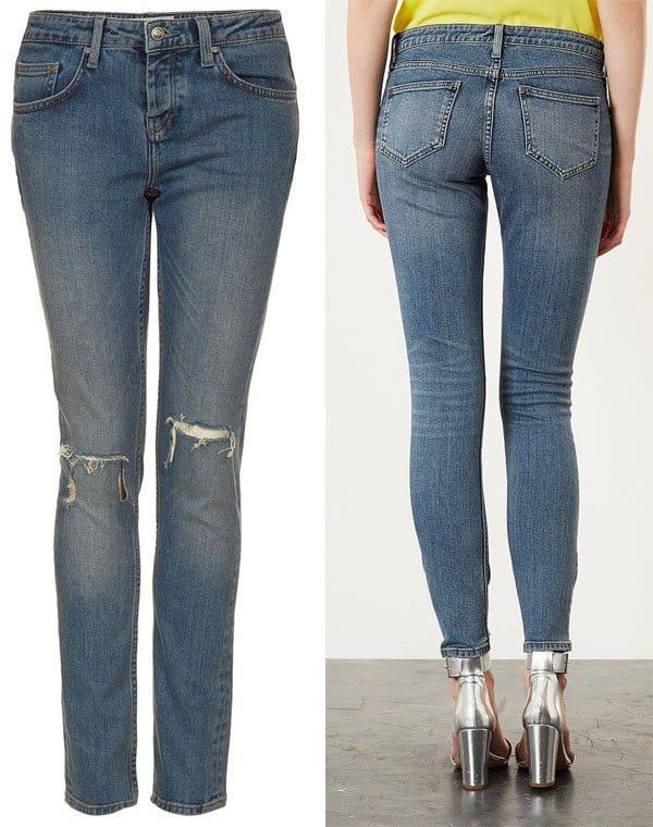 Topshop Moto Rip Knee Skinny Jeans