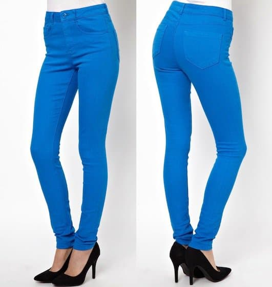 "ASOS ""Ridley"" High-Waist Skinny Jeans in Electric Blue"