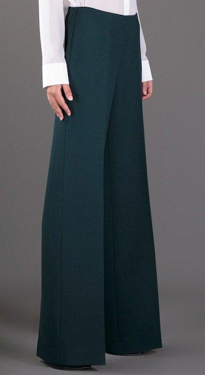 Erika Cavallini Semi Coutoure Flared Trousers in Bottle Green