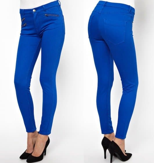 "French Connection ""Lilly"" Zip Skinny Jeans in Electricity Blue"