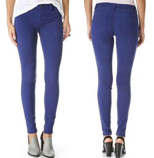 "J Brand ""485"" Super Skinny Luxe Sateen Jeans in Blueberry"