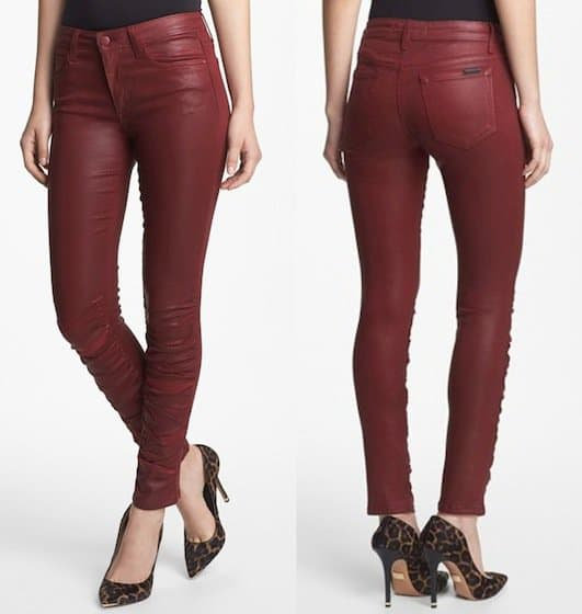 Joe's Ruched Coated Skinny Jeans in Wine
