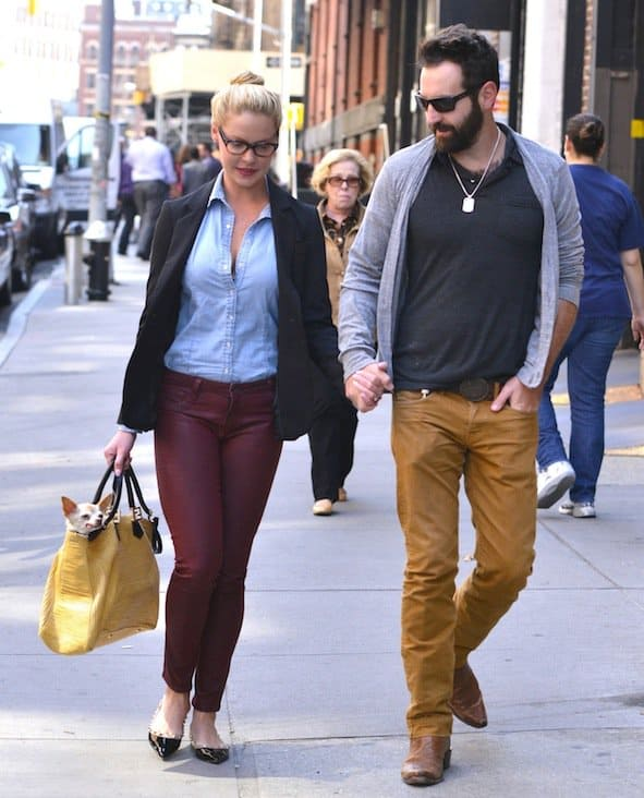 Katherine Heigl seen on a stroll with husband Josh Kelley and their dog in New York City on October 4, 2013
