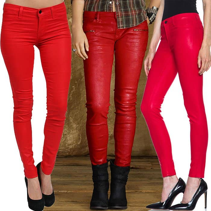 Red faux leather jeans