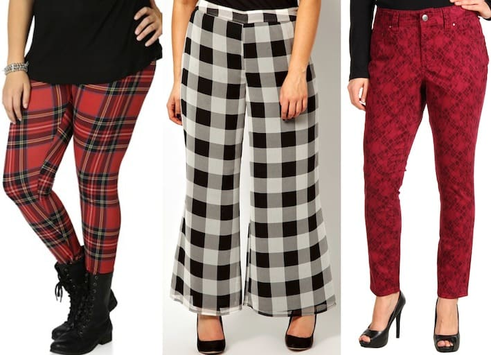 Red tartan-printed pants for plus size women