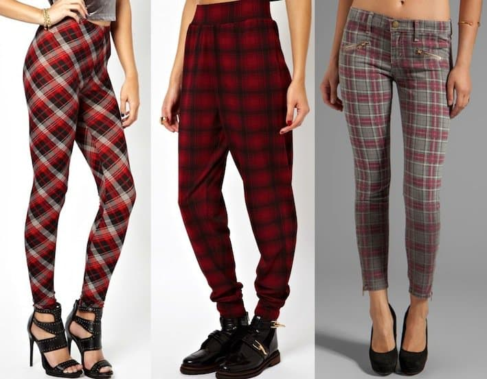 Red tartan-printed pants for women with smaller body frames