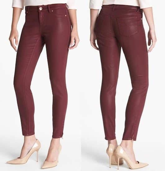 Ted Baker London Wax Coated Skinny Jeans in Oxblood
