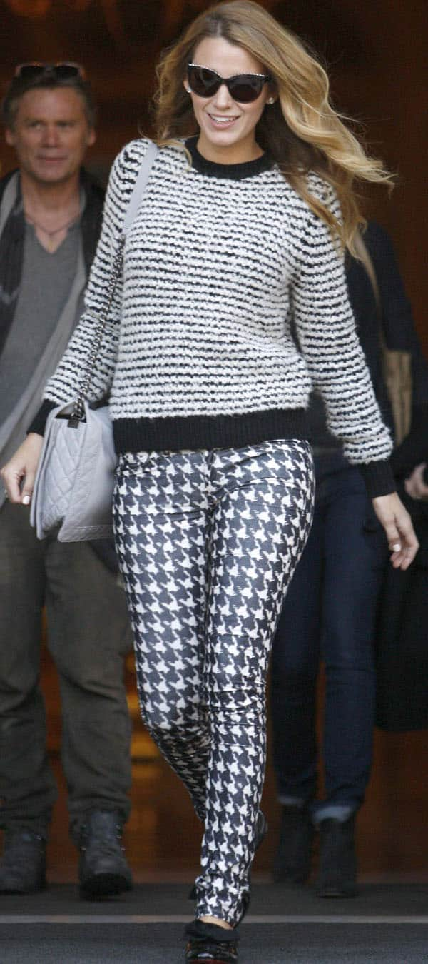 Blake Lively paired her houndstooth pants with Christian Louboutin's Gine patent leather flats