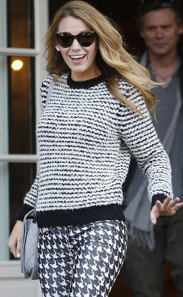 Blake Lively emerging from the Shangri-La Hotel in Paris after being named the new face of L'Oreal Paris