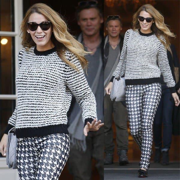 Blake Lively wears Isabel Marant Etoile's Canelia stripe sweater