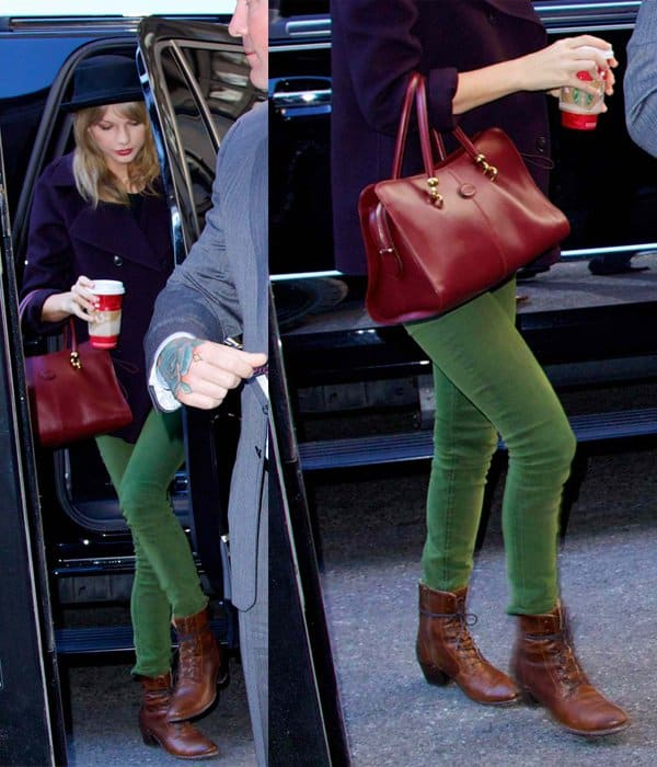 Taylor Swift wore a pair of olive green pants with a purplish jacket and a pair of brown boots