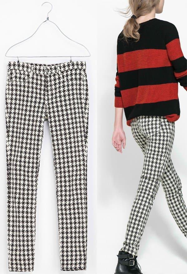 Zara Houndstooth Print Trousers