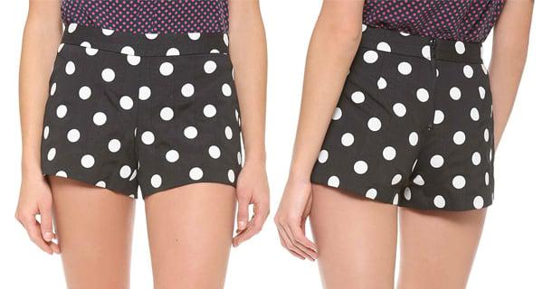 Alice + Olivia Back Zip Polka Dot Shorts