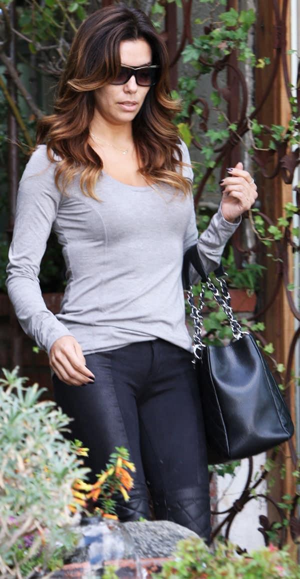 Eva Longoria's long-sleeved gray top from Twenty Tees