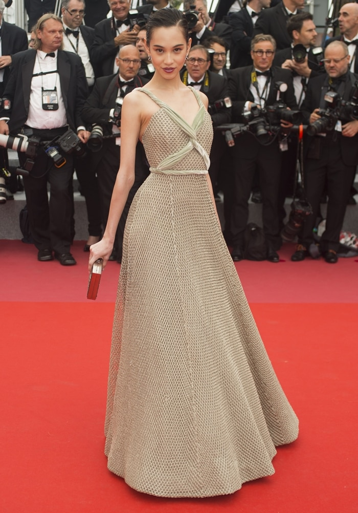 "American-Japanese model Kiko Mizuhara attends the screening of ""Yomeddine"" during the 71st annual Cannes Film Festival"