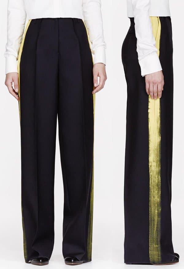 Maison Martin Margiela Navy Twill Painted-Stripe Pillar Trouser